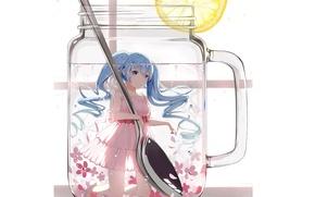 Picture water, smile, lemon, spoon, mug, white background, flowers, Hatsune Miku, Vocaloid, long hair