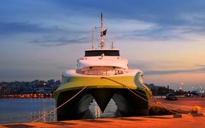 Picture ship, port, sky blue, ropes, catamaran