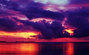 Picture sea, the sky, clouds, sunset, clouds, reflection, horizon, glow
