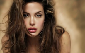 Picture girl, face, hair, actress, Angelina Jolie, Angelina Jolie, art