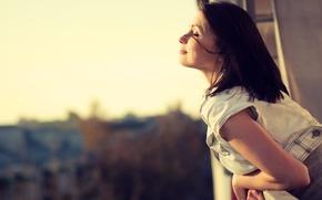 Picture girl, smile, mood, balcony