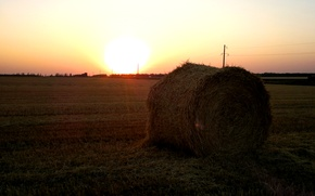 Picture field, summer, sunset, the evening, hay, bale