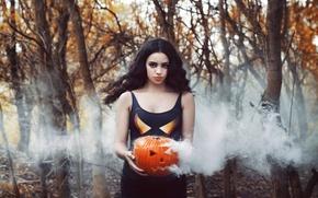Picture girl, smoke, pumpkin