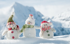 Picture winter, new year, snowmen, fun, White snowmans