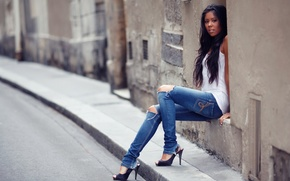 Picture look, girl, face, street, hair, jeans, brunette