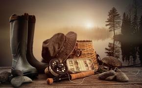 Picture landscape, stones, fishing, boots, Panama, rod