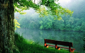 Wallpaper bench, river, calm