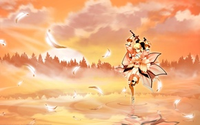 Picture forest, girl, sunset, sword, anime