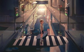 Picture water, the city, reflection, home, umbrella, anime, art, traffic light, the transition, guy, naked cat