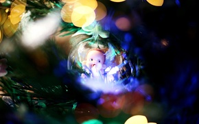 Picture toy, tree, new year, ball, decoration