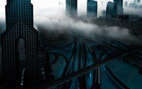 Picture the city, lights, fog, morning, Dubai, UAE, rfcd
