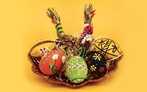 Picture eggs, Easter, basket, Pysanka