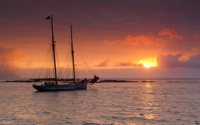 Picture sea, sunset, yacht