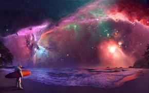 Wallpaper The sky, Sea, The universe, Shore, Astronaut, Fiction