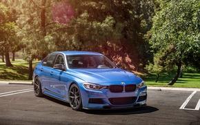 Picture BMW, wheels, Vorsteiner, blue, 328i, f30, frontside