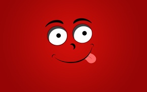 Picture language, muzzle, smile, red background, smiley