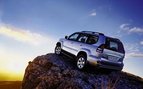 Picture machine, auto, mountain, slope, jeep, toyota, Toyota, land cruiser, prado, lend, 120, hill, Prado, cruiser