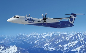 Picture new aircraft, passenger, crj Q400 next gen, bombardier, mountains, the plane, jet, the sky, blades