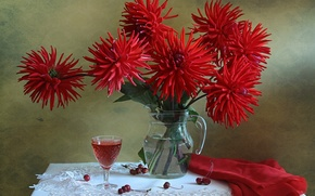 Picture cherry, glass, dahlias