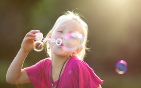 Picture nature, children, pink, mood, bubbles, girl, background. Wallpaper