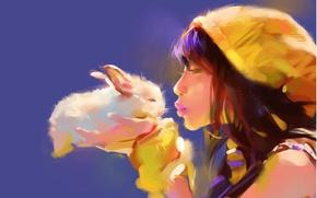 Wallpaper tenderness, rabbit, kiss, girl