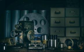 Picture retro, table, film, coil, projector