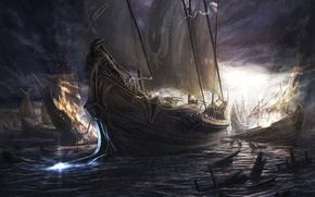 Picture night, ships, battle, sails
