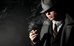 Picture hat, cigarette, coat, jacket, smoke, male, shadow, costume