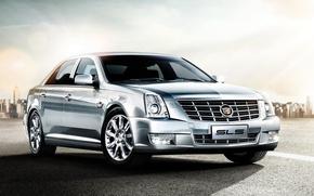 Picture Cadillac, Road, Machine, Grey, Machine, Cadillac, Car, Car, Cars, SLS, Cars, Road, Silver