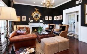 Picture design, sofa, candles, chandelier, fireplace, mansion, Design, living room, Interior, Living