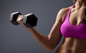 Wallpaper fitness, dumbbell, Triceps women