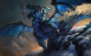 Picture girl, snow, mountains, blue, rocks, dragon, art, giant