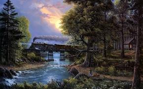 Picture river, trees, bridge, sunset, cat, boy, train, painting, Jesse Barnes, Cherished Companions