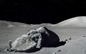 Picture The moon, astronaut, lokomobil, Apollo 17