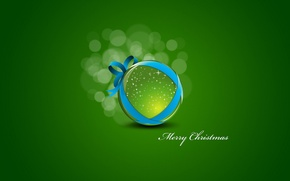 Picture green, background, new year, minimalism, ball, Christmas toy