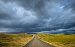 Picture road, field, storm, gray clouds