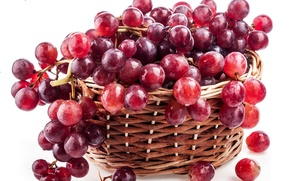 Picture red, berries, basket, berry, grapes, bunch, red, basket, Grapes, raceme