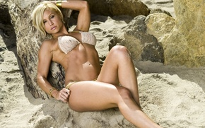 Picture beach, girl, model, blonde, Jamie Eason