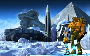 Picture machine, girl, snow, planet, robot, ice, crystal, Lost pyramid of Callisto