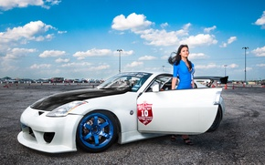 Picture girl, Machine, Tuning, Nissan, Nissan, 350z, Tuning, blue