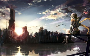 Picture weapons, rainbow, shakugan, natural stay, art, home, flower, anime, ruins, the city, girl, scarf, the ...