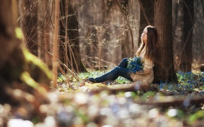 Picture girl, forest, flower, smile, spring, teen