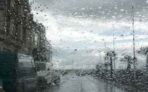 Picture glass, water, drops, the city, rain, street
