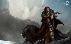Picture wolf, warrior, Guild Wars 2, tattoo, Cape, proud, fierce