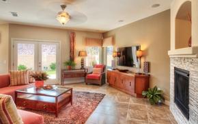 Picture design, sofa, carpet, furniture, mirror, lamp, fireplace, cottage, Design, living room, Interior, Living