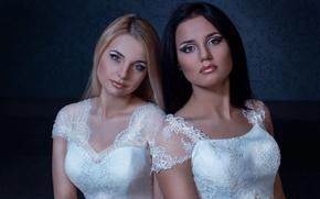 Picture girls, wedding dress, wedding makeup, model. look