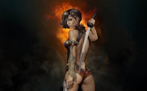 Picture girl, gun, weapons, smoke, sword, katana, blade, Gunblade Saga