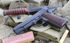 Wallpaper weapons, self-loading, knife, M1911, gun