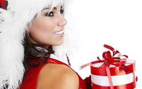 Picture red, holiday, gift, smile, white, new year, color, fur, new year, girl