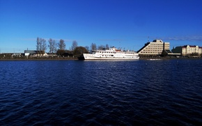 Picture autumn, water, the sun, ship, Vyborg